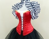 """Red Lace Up Front Overbust Corset-to fit 33-36"""" natural waist"""