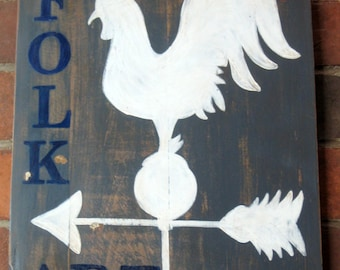 Shabby Sign on Vintage Cutting Board - Folk Art Rooster