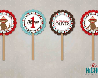 Sock Monkey Cupcake Toppers, Personalized Birthday Party Decorations