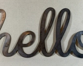 Large Steel Hello Sign, Industrial Sign, Hello in Metal Sign