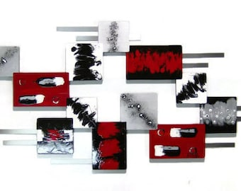 Large Modern Abstract Red Silver Geometric Wood with Metal Wall Sculpture 55x24
