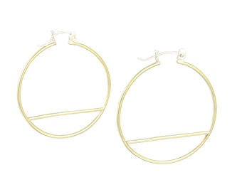 Mod Brass Hoop Wire Hinge Earrings