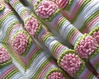 Crochet baby blanket pattern flower blanket baby aphgan pattern flowers crochet pattern ruffle edge bunny rug nursery blanket baby girl