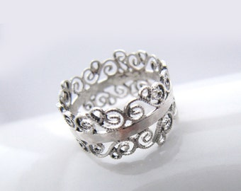 Contemporary Silver Crown Ring, Silver Filigree Ring, Crown Ring, Non-traditional wedding band