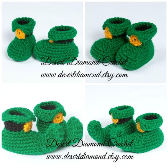 Crochet Pattern 102 - Leprechaun Baby Booties - 5 Sizes