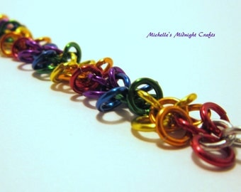 Rainbow Chainmaille Shaggy Loops Bracelet