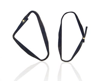 Abstract asymmetric paired blackened silver earrings