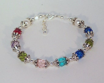 Swarovski Pearl and Crystal Jewelry - Stacking Bracelet - Mother or Grandmother Bragging Bracelet - Up to 13 Birthstones