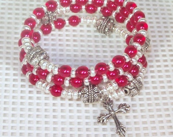 Glass Pearl Rosary Bracelet - Jewish, Catholic or Anglican, Made to Order  - Shown in Red