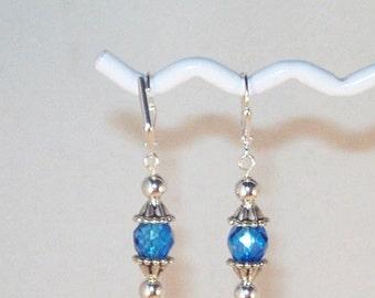 Blue Topaz Swarovski Crystal Earrings
