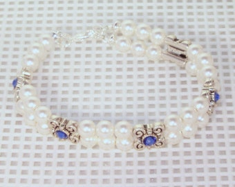 Swarovski Crystal and Pearl Jewelry - Bride, Bridesmaid, Maid of Honor Bracelet - Shown in White & Sapphire - Made to Order