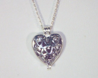 Gemstone & Sterling Silver Jewelry - Sterling Silver Chain - SIlver Plated Heart Cage - Choice of Gemstones - Garnet, Amethyst or Aquamarine