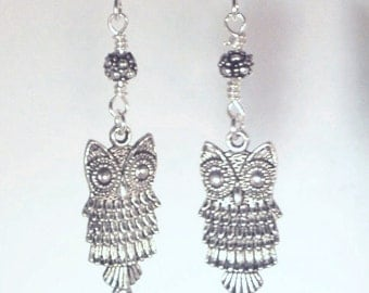 Pewter Owls and Antique Silver Floral Earrings