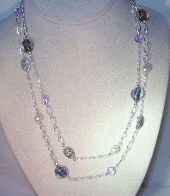 Swarovksi Pearls and Lampwork Glass Necklace - White Pearls and Lampwork Glass