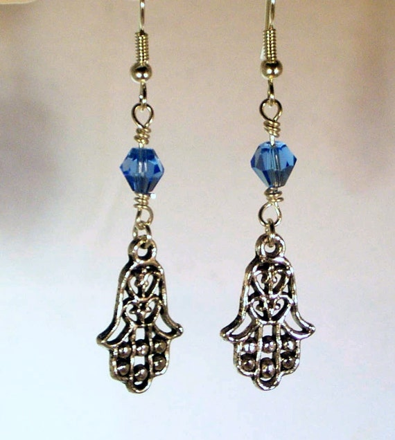 Pewter Hamsa and Sapphire Crystal Earrings
