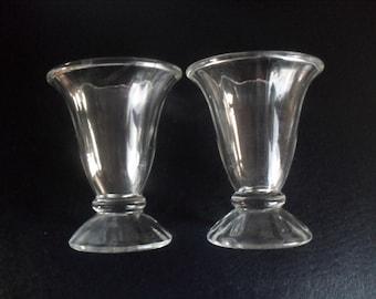 Vintage Glass Soda Fountain Malt Shakes Sundaes Glasses set of 2 by Anchor Hocking