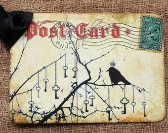 Black Crow Raven Skeleton Key Tags #52