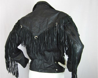 Vintage Biker Chick Fringed Leather Jacket, 1970s, Conchos, Details