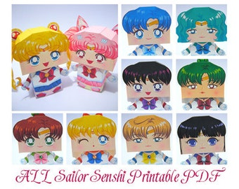 ALL Sailor Senshi and Sailor ChibiMoon Printable Paper Craft PDF