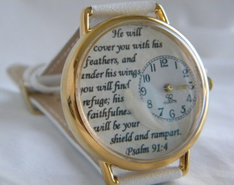 Bible Verse Watch 2 Psalm 91 4 with Tiny Feather