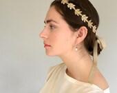 Great Gatsby Style Headband, Bridal Headband, Gold Leaf Headband, Gold Wedding Headband, Champagne Gold Headband,  Made in USA