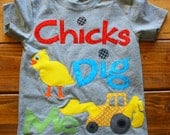 Valentines Day Shirt for Boys, Chicks Dig Me Shirt, Backhoe Shirt, Easter Shirt for Boys, Easter Egg Hunt, Made To Order, Construction Shirt