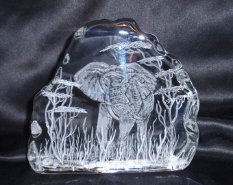 Elephant Glass Iceberg Carving, Africa, Safari, Acaccia, Ivory, Tusks, Trunk, Christmas gift, Big Five, Signed by the Artist