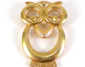 Owl Brooch Pin Gold Wild Animal Bird Vintage Jewelry