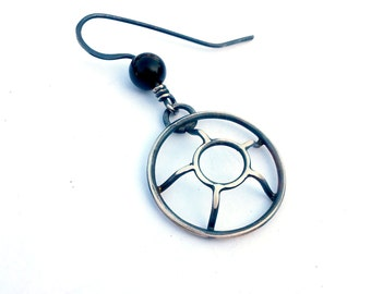 Single Earring, EAD2015 124/365: Asymmetric Dangle Earring, 3D Circle Earring, Oxidized Silver Contemporary Jewelry, Silver and Obsidian