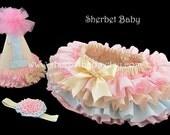 The Ruffled Princess Birthday Cake Smash Set All Around 4 Ruffle Bloomer Skirt Birthday Hat Headband