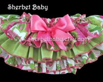 Paisley Pink Green Floral Sassy Pants Ruffle Diaper Cover Baby Bloomer