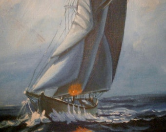 ART STUDENT'S Second OIL Painting of Sail Boat on the Open Sea