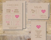 Rustic Wedding Invitations, Rustic Wedding, Barn Wedding, Outdoor Wedding, Romantic Invitations, Invitation Suite, Set - Recycled Heart