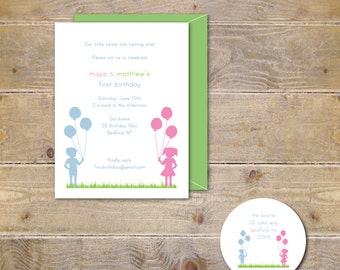 First Birthday Invitations Twins .  Twins First Birthday Invites . First Birthday Twin Invitations . Twin Invitations - Twin Birthday