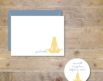 Yoga Cards, Yoga Stationery, Fitness Cards, Fitness Stationery, Stationery Set, Stationary Set, Personalized Stationery - Namaste