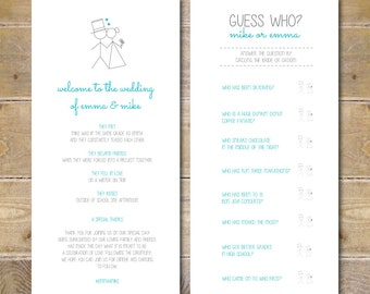 Fun wedding programs | Etsy