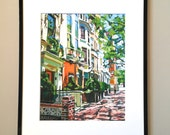 "New York Art Framed NYC 8x10 Print 11x14, ""Westside Townhouses""  Mat, Frame Included.  Ready to Hang, by Gwen Meyerson"