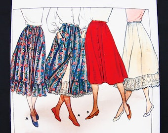 Butterick Boho Skirt Pattern Misses size 6 8 10 Vintage Ruffle Skirt Pattern with, Petticoat Vintage Sewing Pattern