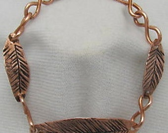 Copper Feather Bracelet, copper bracelet. Feathers of faith bracelet.
