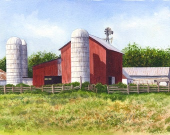Red Barn Art Original Watercolor Painting by Cathy Hillegas, 12.4x16.7, watercolor landscape painting, farm painting, red green, brown blue