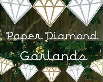 Gold and Silver Glitter Diamond Garland, Wedding Garland, Bridal Shower, Engagement Party