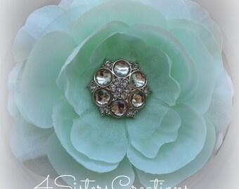 Aqua and Mint Artificial Flower with Organza Custom Clear Acrylic Rhinestone Button
