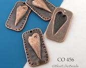 Folk Art Style Heart Charm Rectangle Antique Copper Charm 27mm (CO 456) 4 pcs BlueEchoBeads