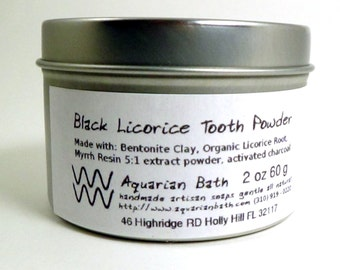 Black Licorice Tooth Powder - Toothpaste alternative - 2 oz Family Size