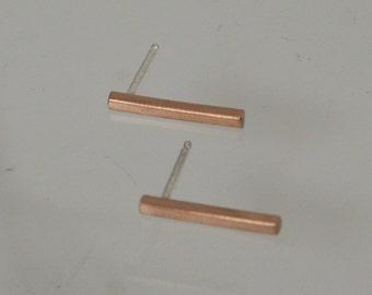 Bronze Bar Earring, Bronze Earrings, Bronze Jewelry, Bar Earrings, Stick Earrings, Post Earrings, Square Earrings, Modern Earrings, Minimal