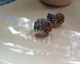 Coro vintage Iridescent earrings 1950s