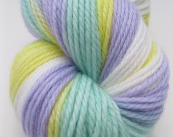 "DK Wool Yarn ""Signs of Spring"" - Hand Dyed DK Yarn, Hand Dyed Yarn in yellow, green, lilac, white - superwash wool, DK weight, 218 yards"