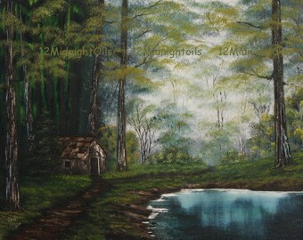 Cabin At Water's Edge Original Oil Painting by Cindi Rae Thayn