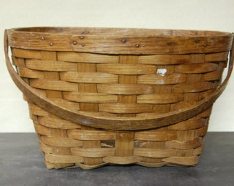Vintage Split Oak Bicycle Basket