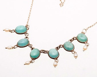 Aquamarine Necklace - Vintage Sterling Chain Necklace with Pearls - Mid Century Choker - Best Buy